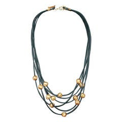 Roberto Coin Black Rubber & 18K Gold Multi-Strand Necklace