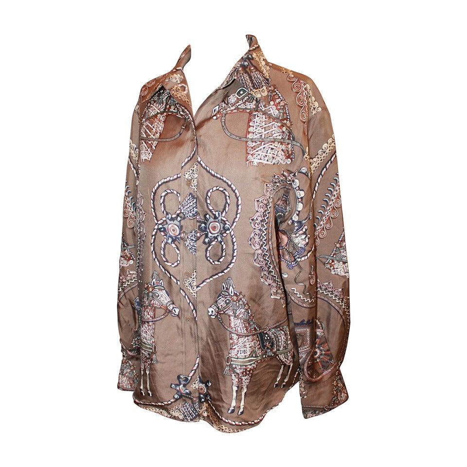 Hermes Brown Horse & Carriage Print Silk Long Sleeve Shirt - 42