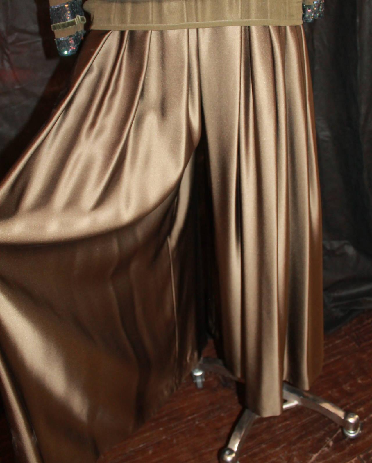 Oscar de la Renta 1970's Vintage Palazzo Pants & Sequin Long Sleeve Top - 6 3