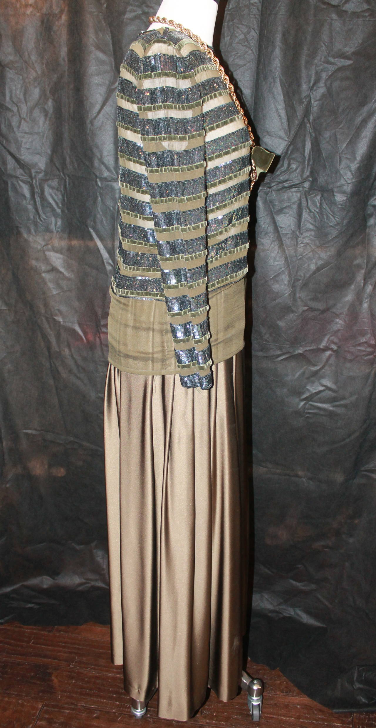 Oscar de la Renta 1970's Vintage Palazzo Pants & Sequin Long Sleeve Top - 6 5