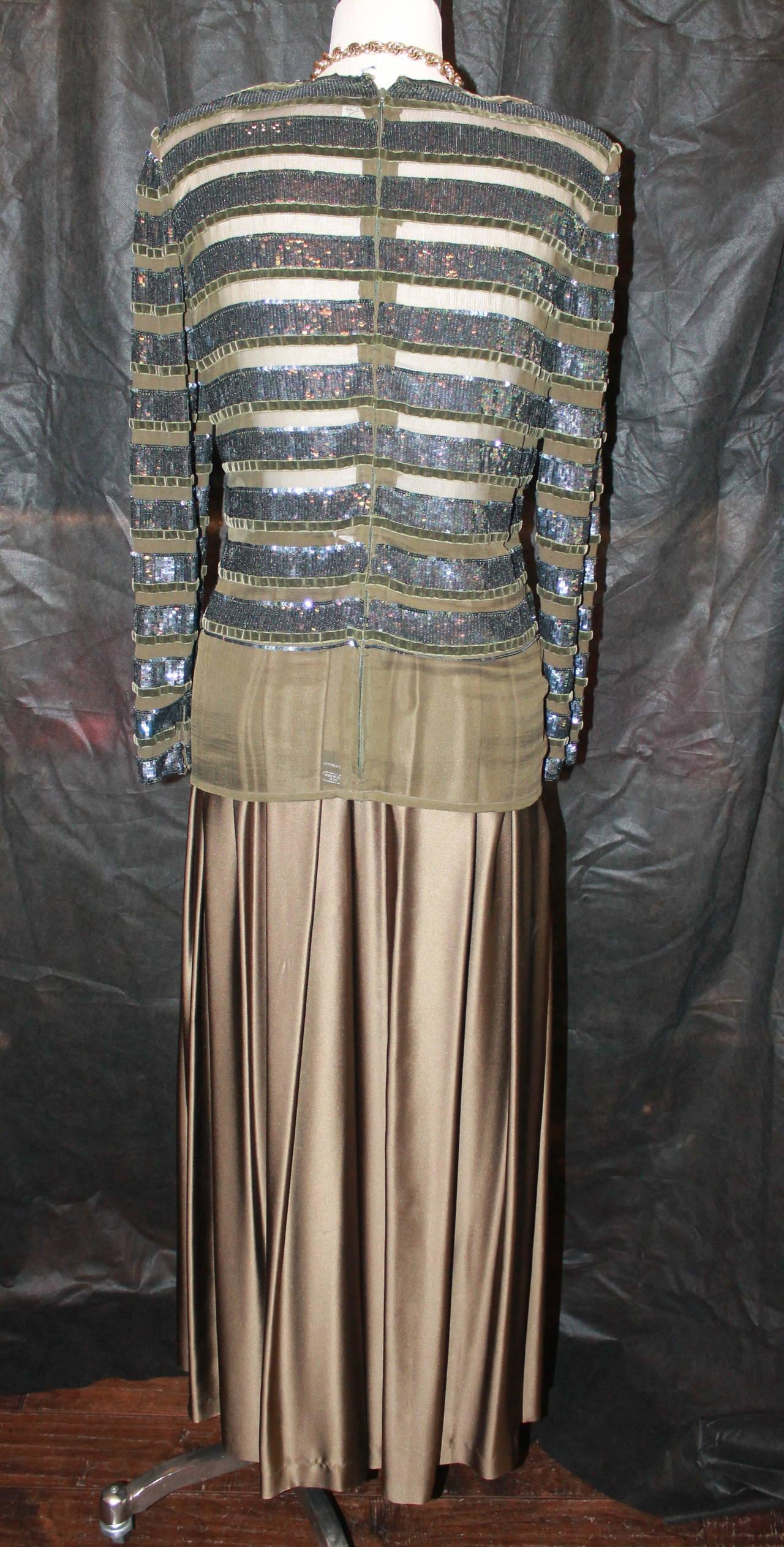 Oscar de la Renta 1970's Vintage Palazzo Pants & Sequin Long Sleeve Top - 6 6