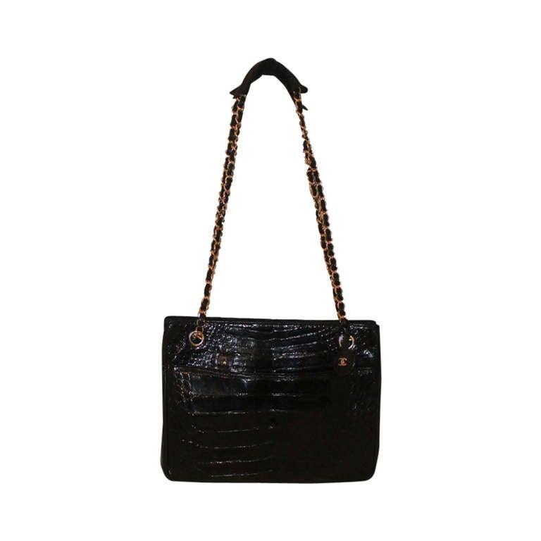 chanel vintage croc handbag fill
