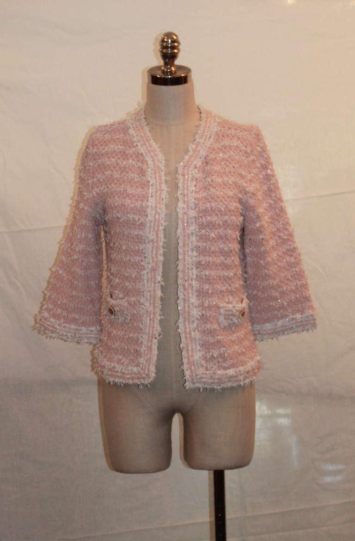 Chanel Pink And White Ribbon Knit Jacket Sz 42 Circa