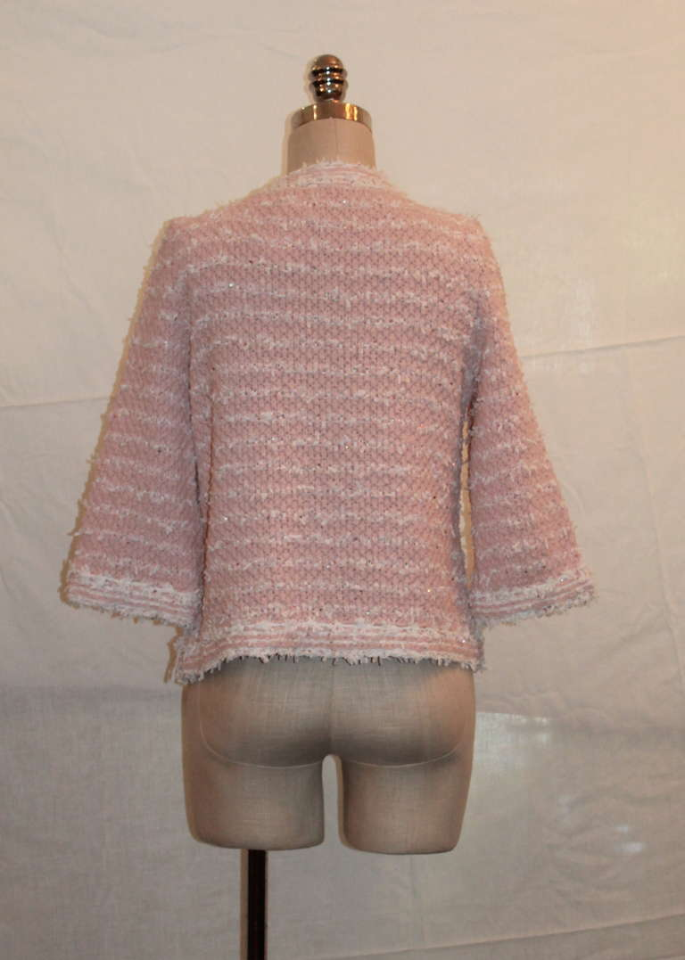 Chanel Pink And White Ribbon Knit Jacket Sz 42 Circa