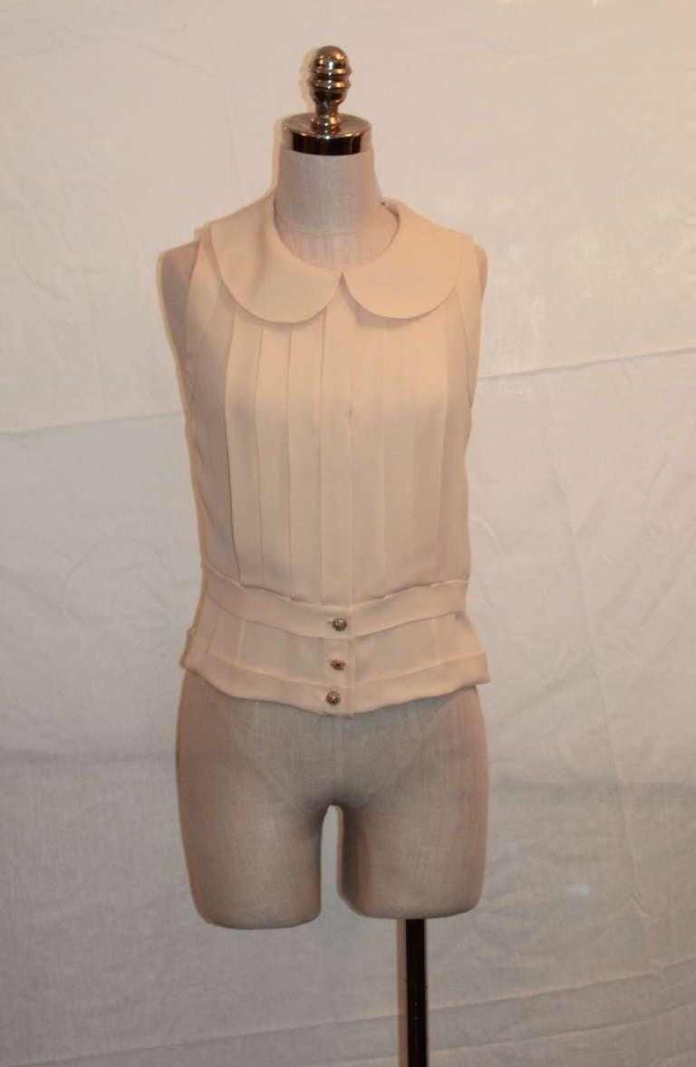 Chanel Ivory Silk Sleeveless shutter pleat top - sz 38 2