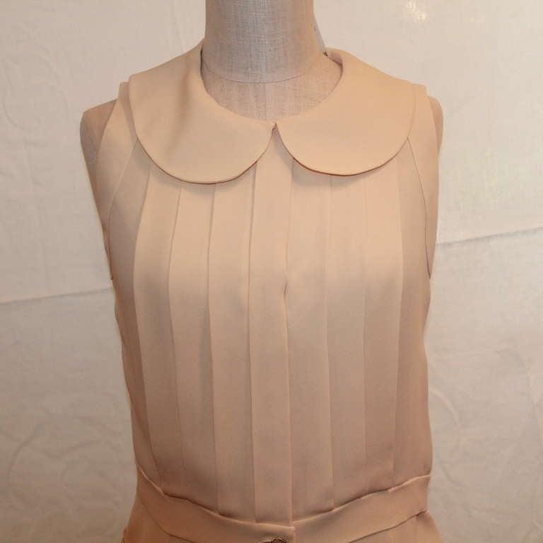 Chanel Ivory Silk Sleeveless shutter pleat top - sz 38 5