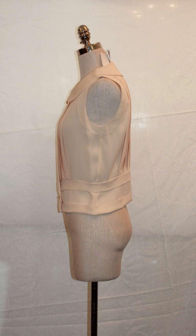Chanel Ivory Silk Sleeveless shutter pleat top - sz 38 3
