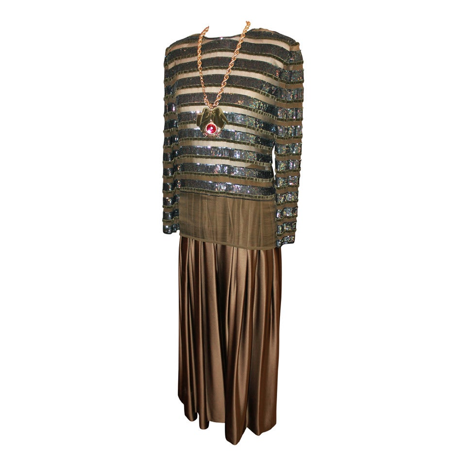 Oscar de la Renta 1970's Vintage Palazzo Pants & Sequin Long Sleeve Top - 6 1