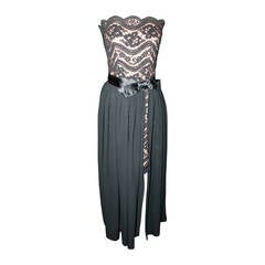Scaasi Vintage 1980's Strapless Tan & Black Lace Dress & Overlay - 6