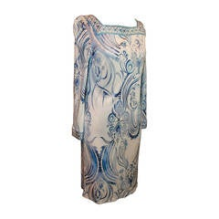 Emilio Pucci White & Blue Printed Long-Sleeve Jersey Dress - 46