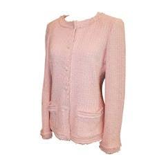 Chanel 2004 Pink Tweed & Textured Trim Jacket - 40 - 2004