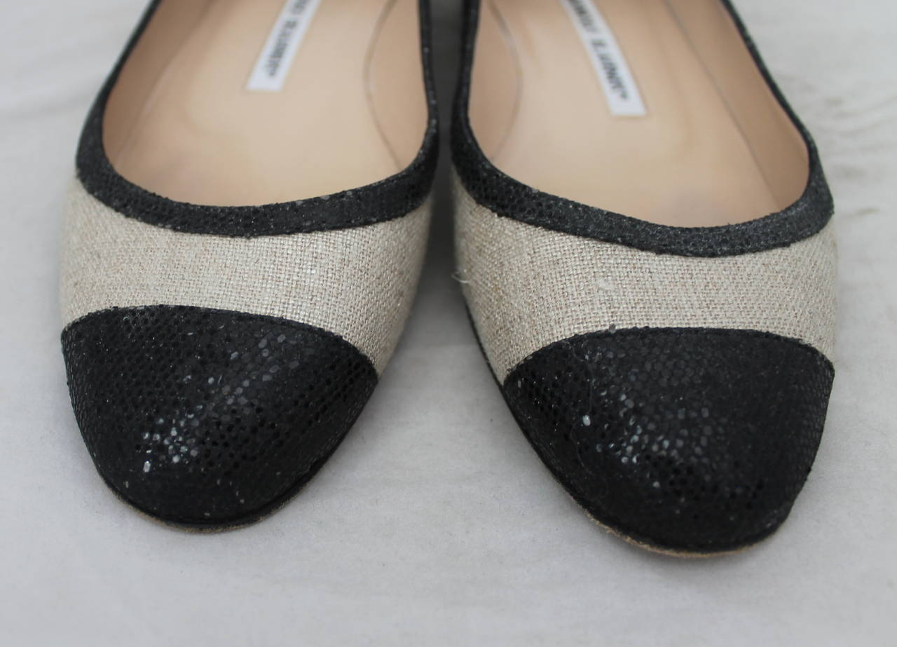 Manolo Blahnik Black Sequin & Metallic Linen Ballet Flats - 36. These flats are in excellent condition and have wear on the sole.