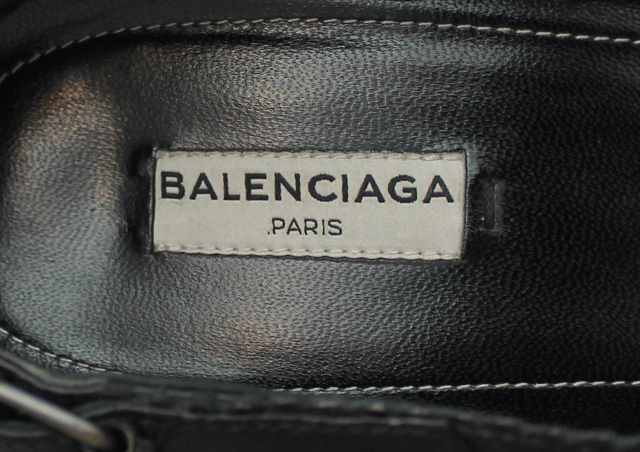 Balenciaga Black Leather Bootie Wedges - 41.5 For Sale 1