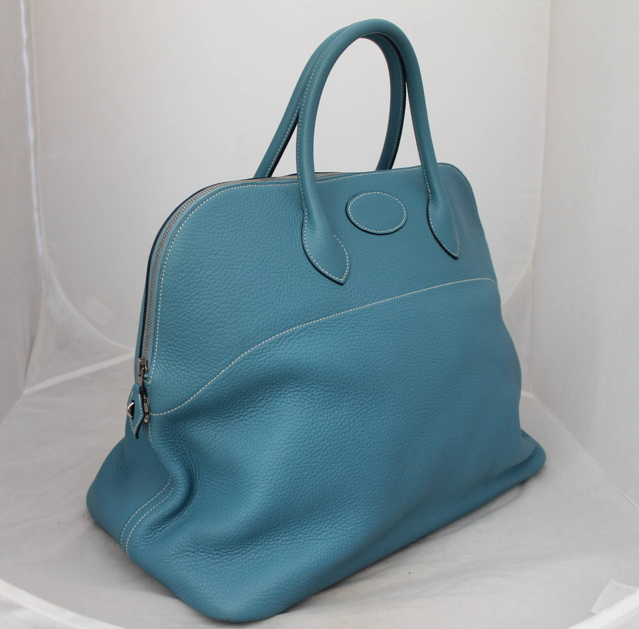 Hermes Blue Jean 47cm Clemence Leather Bolide Travel Handbag circa ...