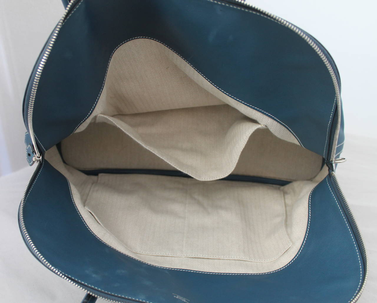 Hermes Thalassa Blue 40cm Veau Swift Bolide Handbag circa 2012 In Good Condition For Sale In Palm Beach, FL