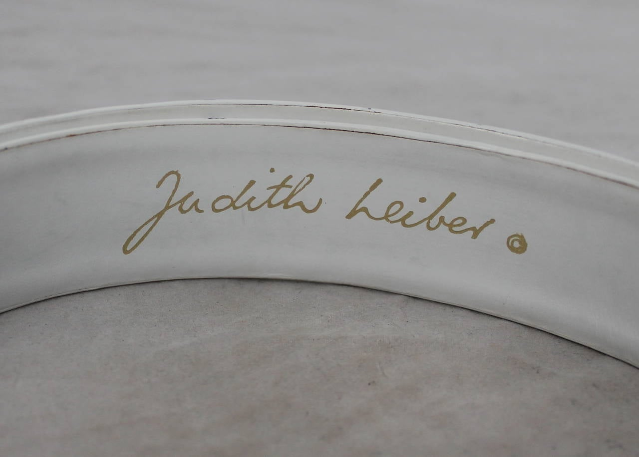 Judith Leiber White Leather Belt with Gold Swirl Buckle 3