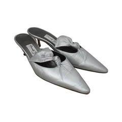 Manolo Blahnik Special Edition Metallic Silver Kitten Heel - 37.5