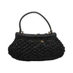 1950's Vintage Italian Black Straw Top Handle Bag