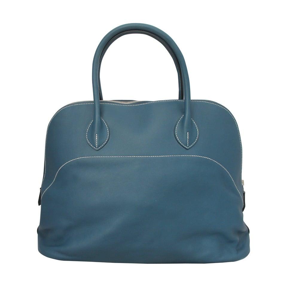 Hermes Thalassa Blue 40cm Veau Swift Bolide Handbag circa 2012 For Sale