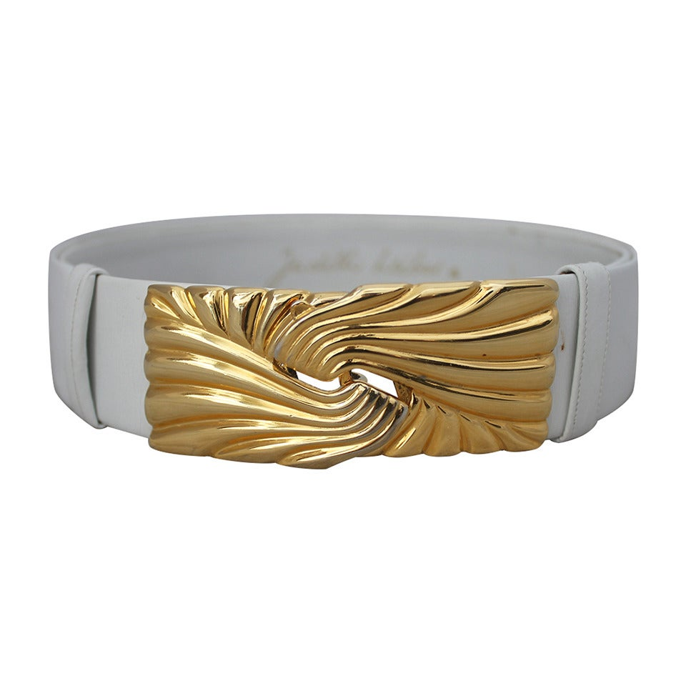 Judith Leiber White Leather Belt with Gold Swirl Buckle For Sale