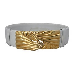 Judith Leiber White Leather Belt with Gold Swirl Buckle