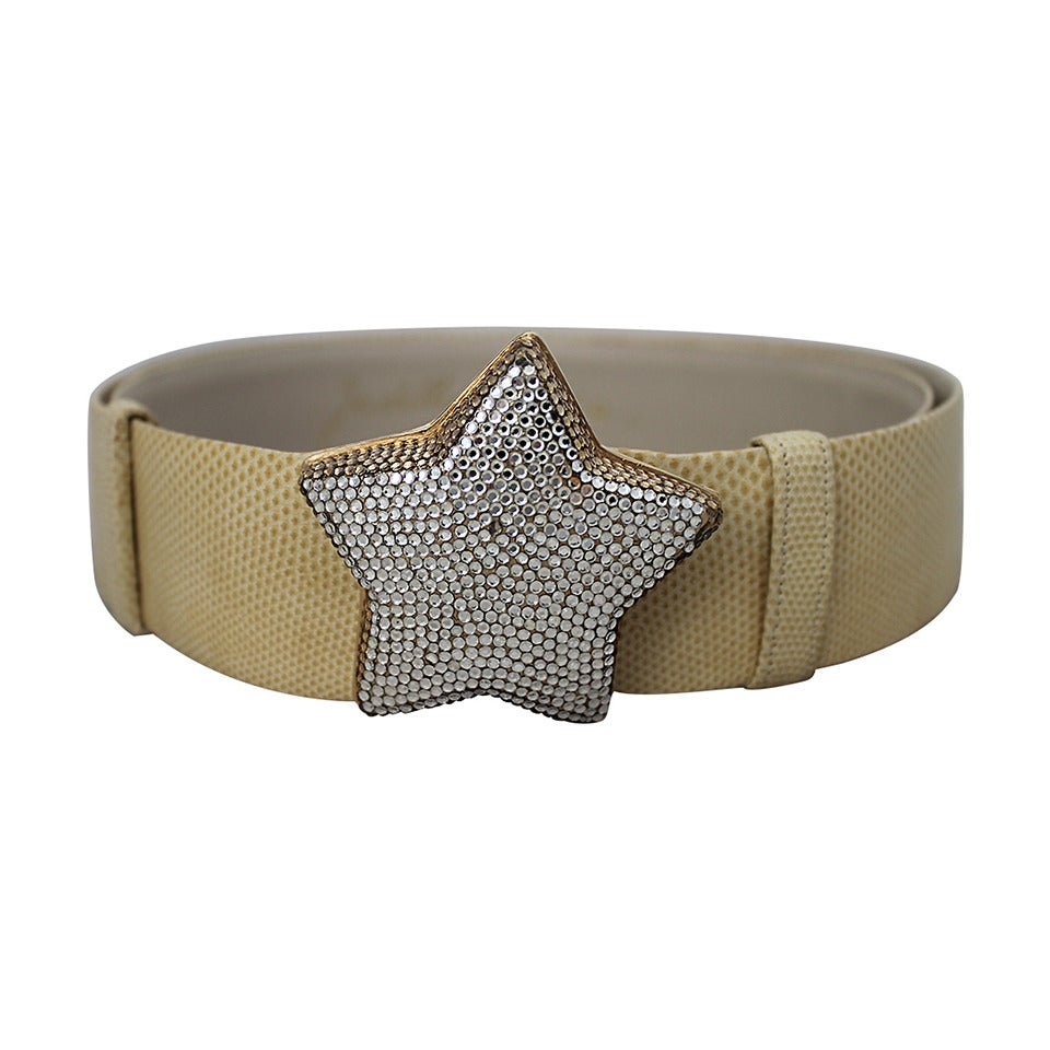Judith Leiber Ivory Lizard Belt with Rhinestone Star Buckle