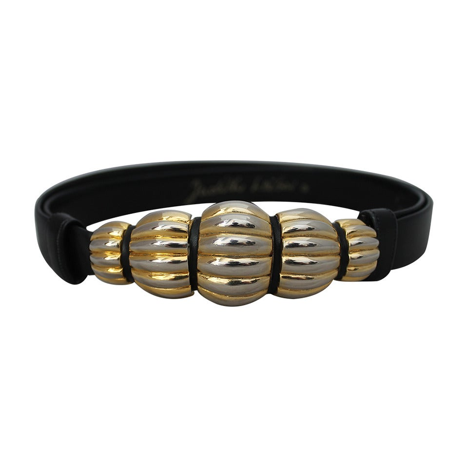 judith leiber black leather belt with silver and gold