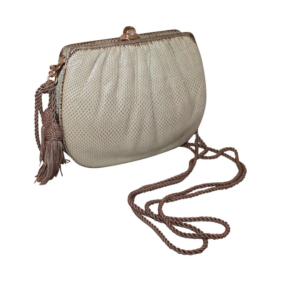 Judith Leiber Two Tone Taupe Karung Handbag - Circa 90's For Sale