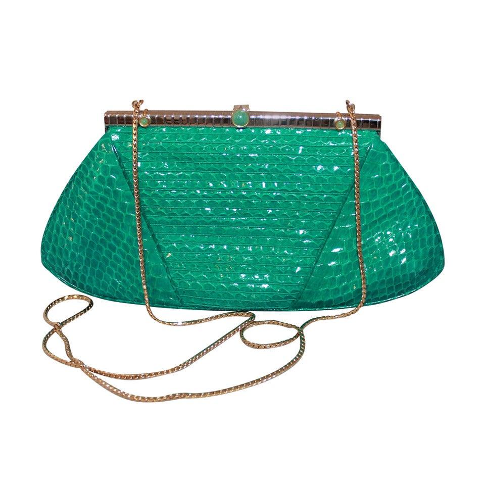 1970s vintage judith leiber teal snake skin evening bag at 1stdibs