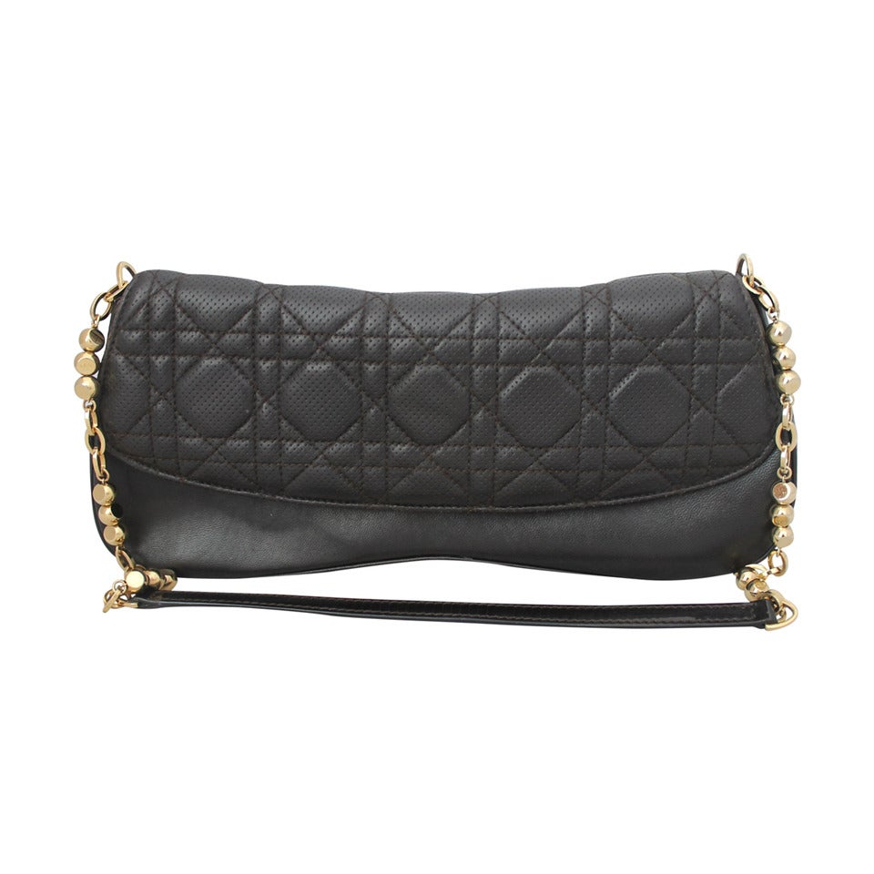 Christian Dior Deep Brown Quilted Shoulder Bag - GHW For Sale