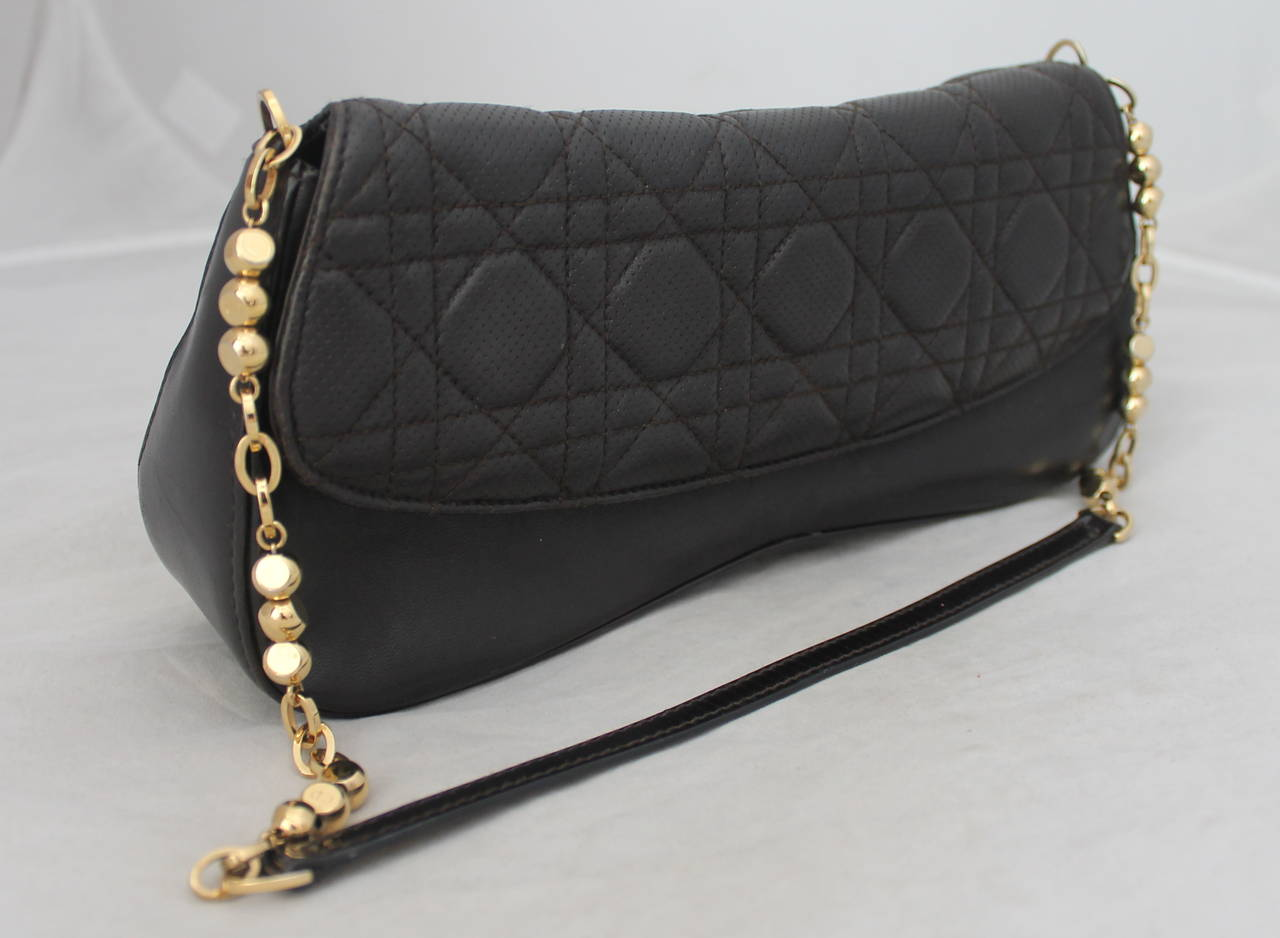 Christian Dior Deep Brown Quilted Shoulder Bag - GHW. The bag is in very good condition.