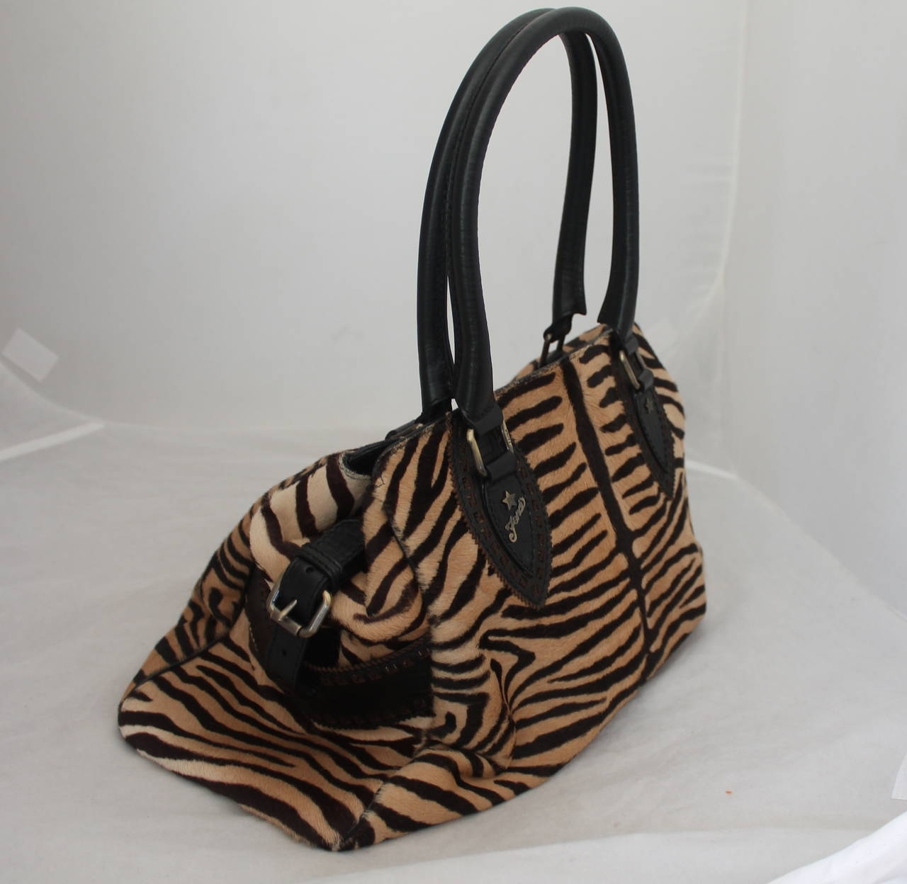 21b1ad02a7e4 ... shop fendi black beige zebra printed pony hair handbag in excellent  condition for sale in palm