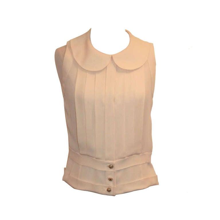 Chanel Ivory Silk Sleeveless shutter pleat top - sz 38 1