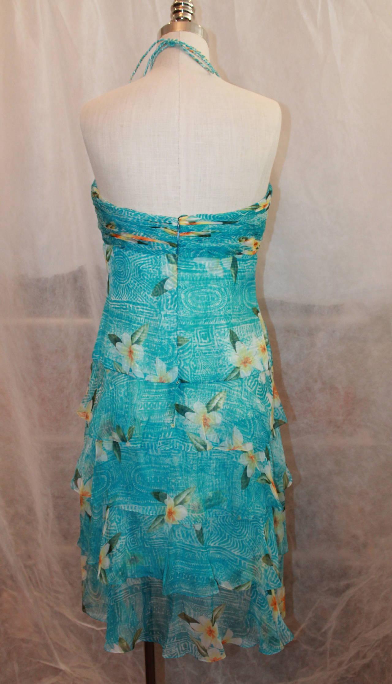 Oscar de la Renta Blue Hawaiian Print Halter Dress & Shawl - 10 For Sale 1