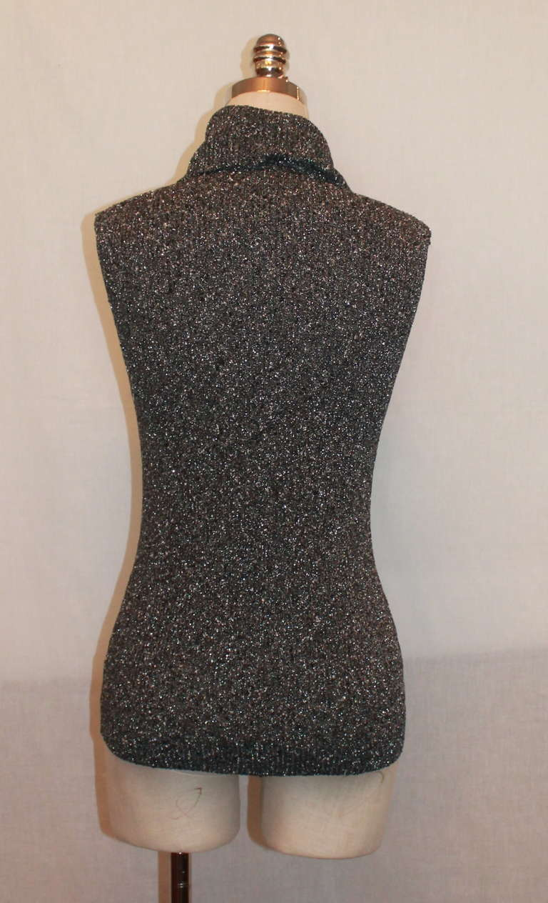 Black Chanel Grey Metallic Knit Sleeveless Turtleneck Top - 40 - circa 05A For Sale