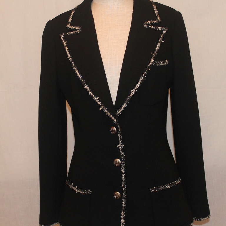 "Chanel black wool ""Devil Wears Prada"" Collection Jacket - 2005 - Sz 40 4"