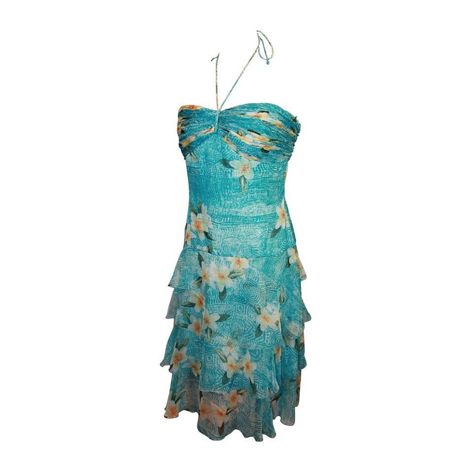 Oscar de la Renta Blue Hawaiian Print Halter Dress & Shawl - 10