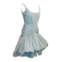Oscar de la Renta Pale Blue Ruched Dress - 4