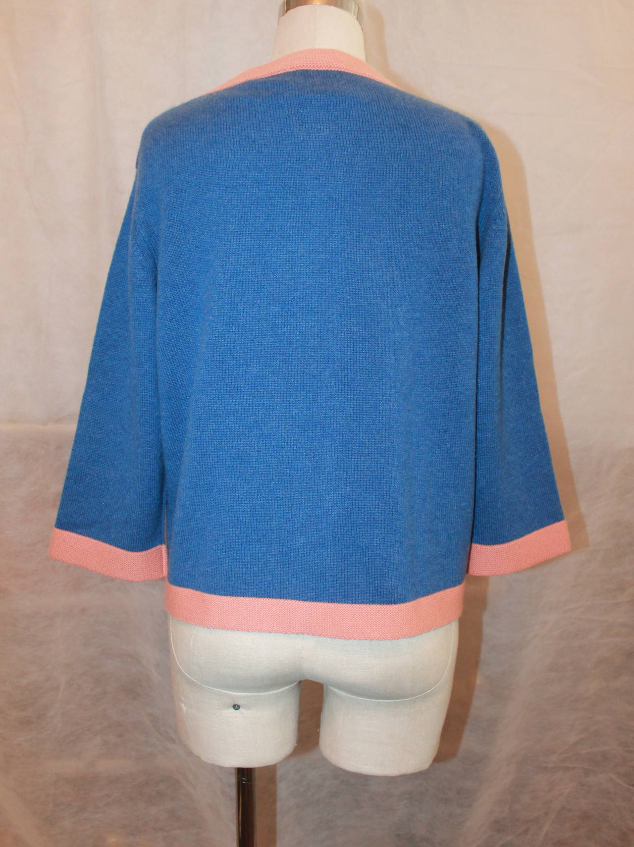Chanel 2007 Blue & Peach Cashmere Sweater - 46 For Sale 1