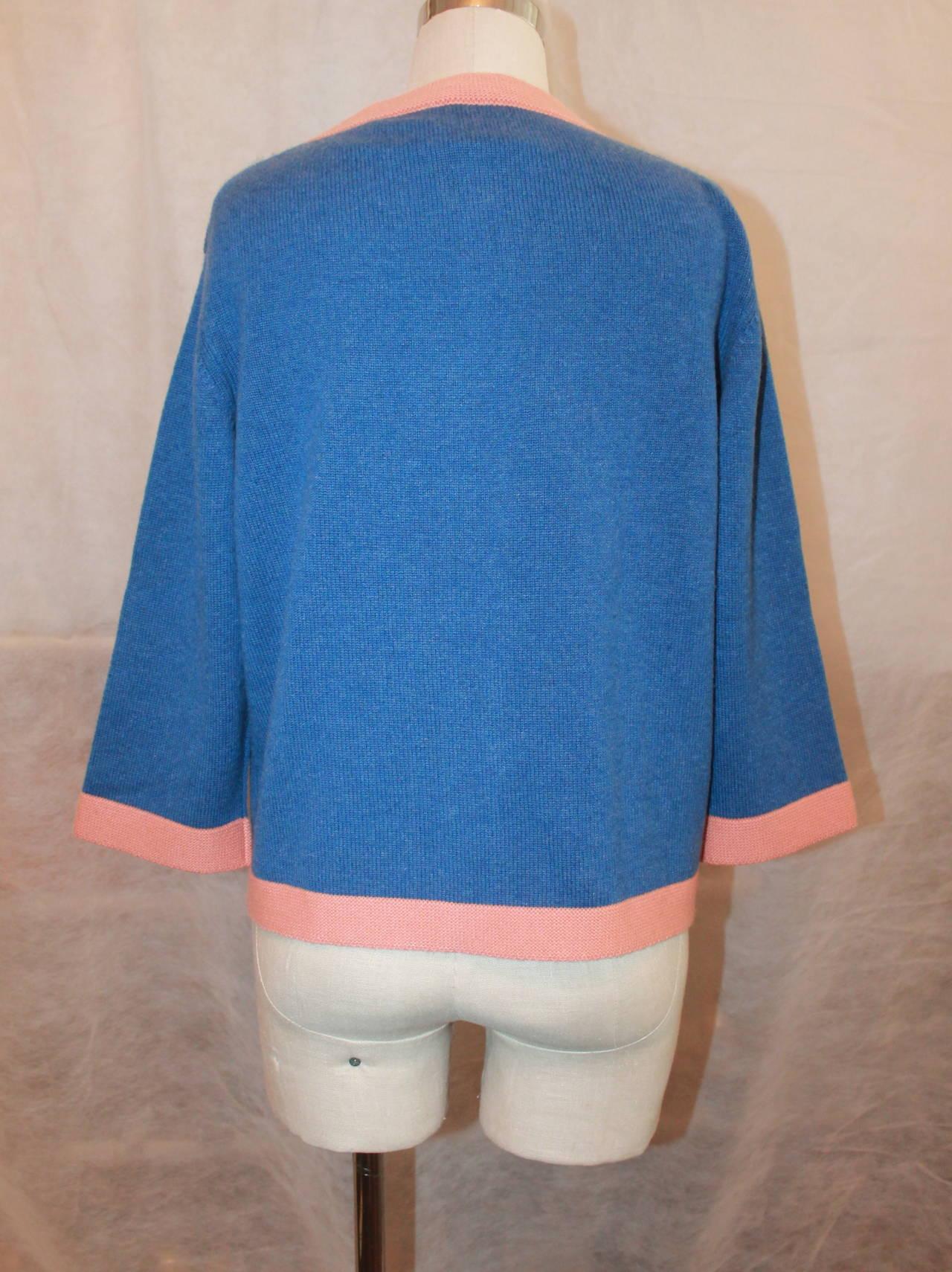 Chanel 2007 Blue & Peach Cashmere Sweater - 46 5