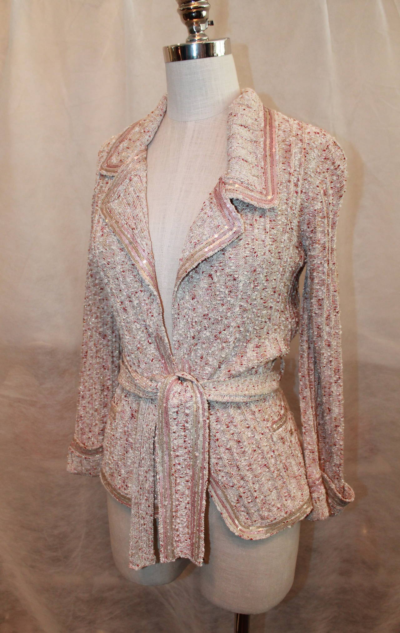 Chanel Beige Knit Jacket with Sequins - Size 40 - Circa 2006 2