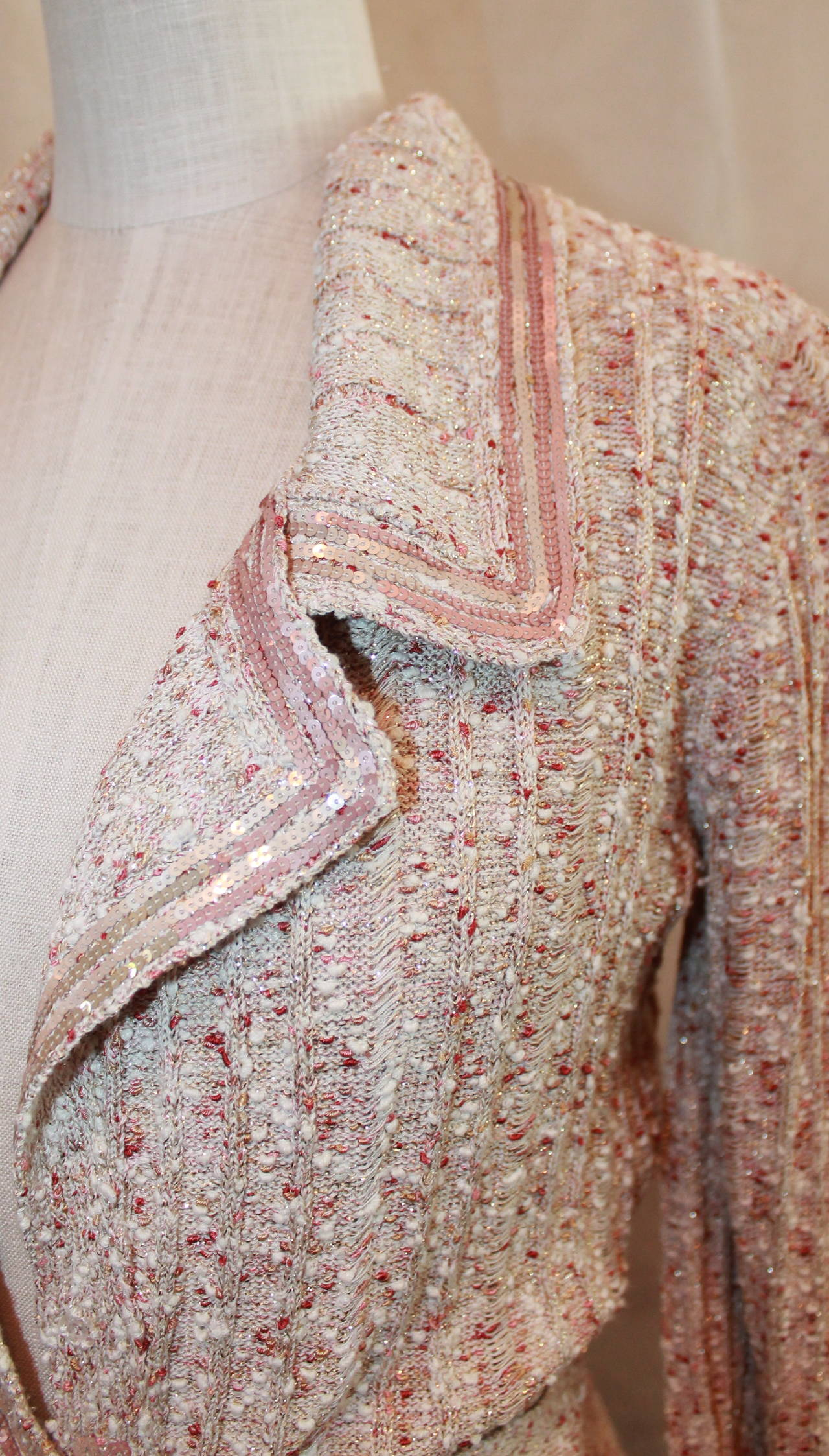 Chanel Beige Knit Jacket with Sequins - Size 40 - Circa 2006 3