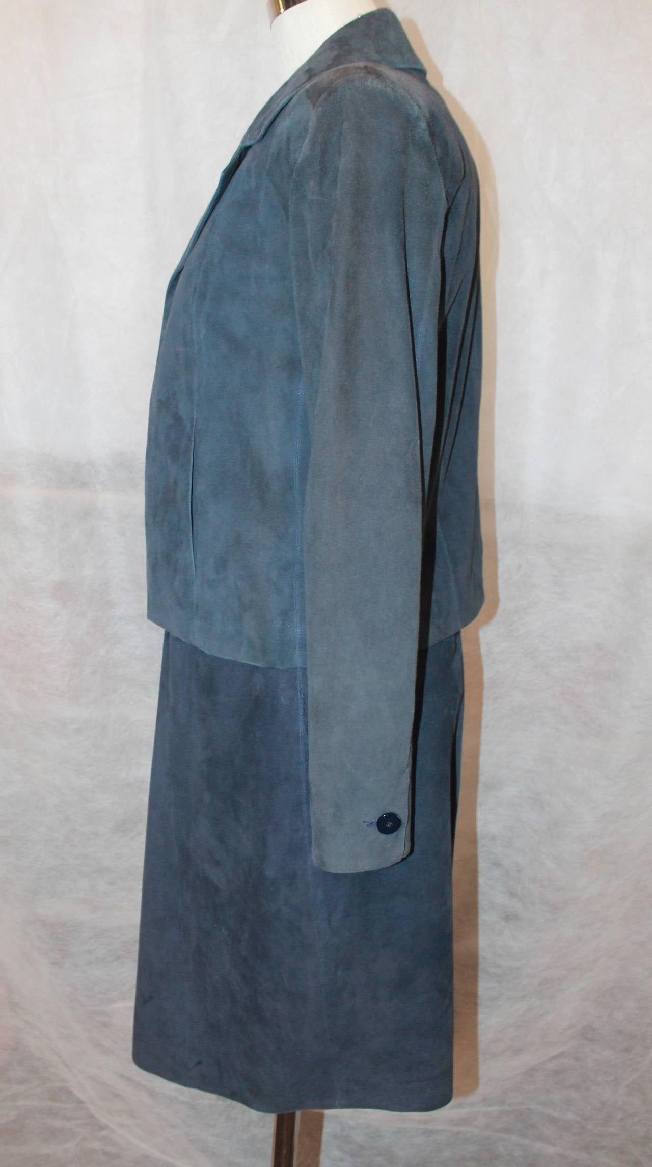 Blue 2002 Chanel Navy Suede Two Piece Dress and Jacket - 38 For Sale