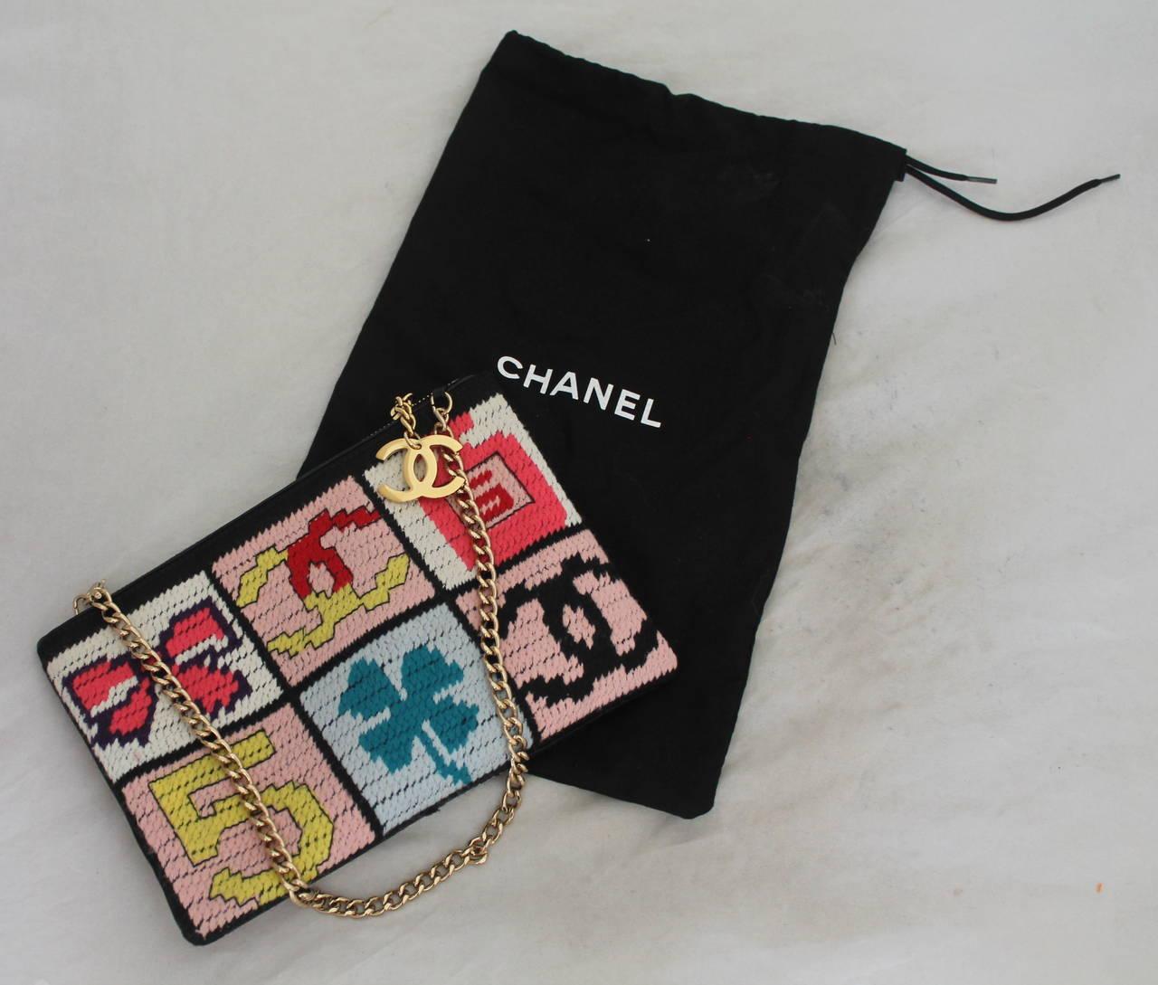 "Chanel Multi Color Needlepoint ""Lucky Charms"" handbag - GHW - Circa 2003 6"