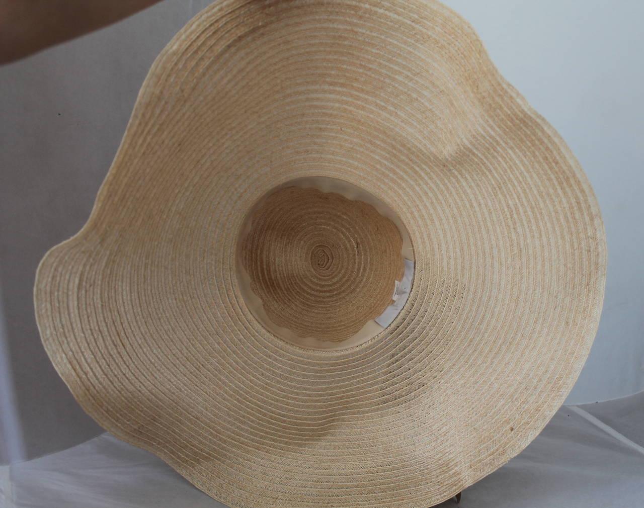 Lanvin creme light straw large brim hat w/ taupe ribbon detail 4