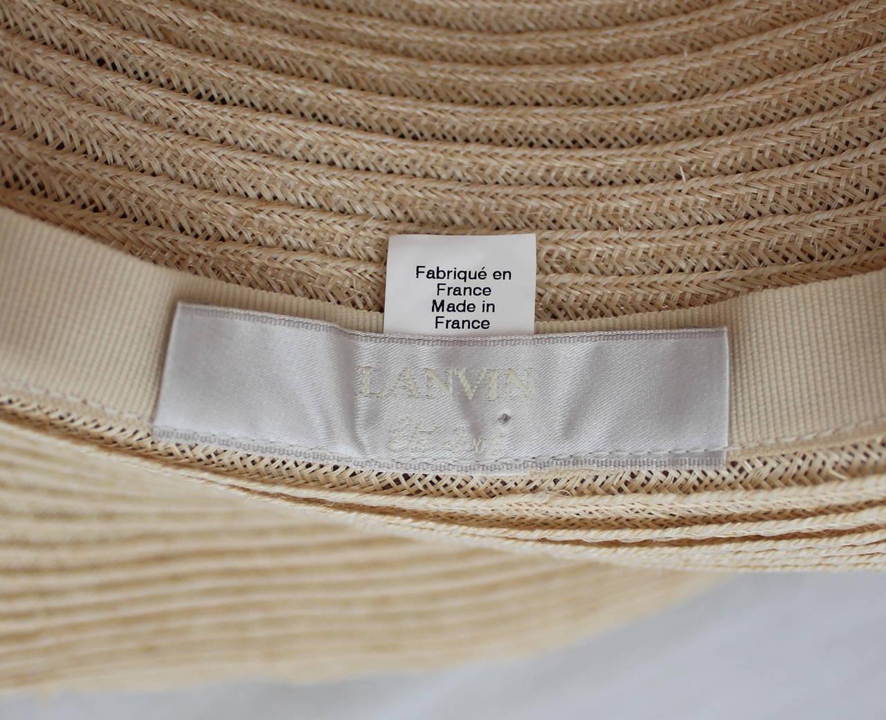 Lanvin creme light straw large brim hat w/ taupe ribbon detail 5