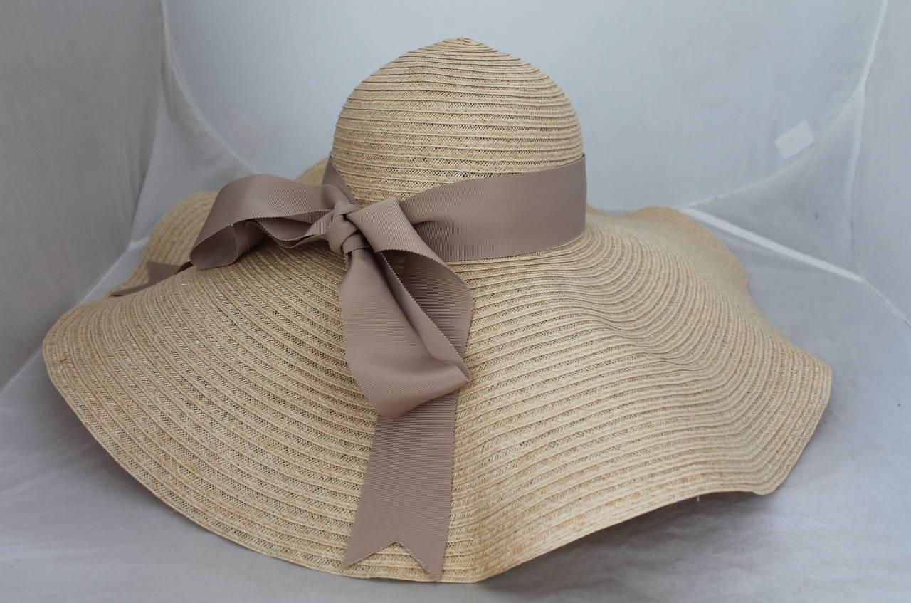 Lanvin creme light straw large brim hat w/ taupe ribbon detail 2