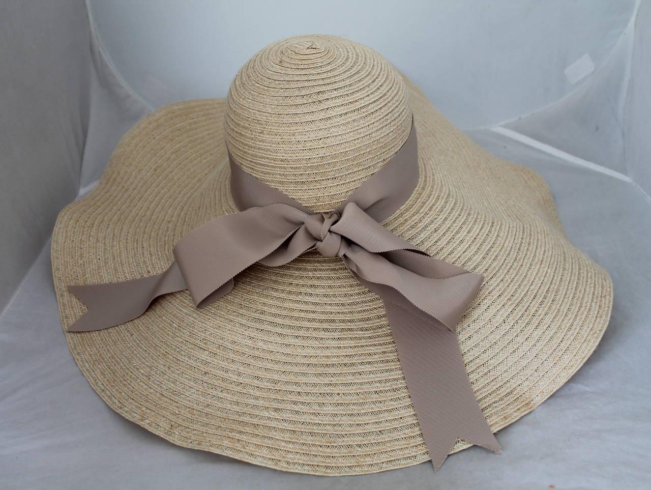 Lanvin creme light straw large brim hat w/ taupe ribbon detail 3