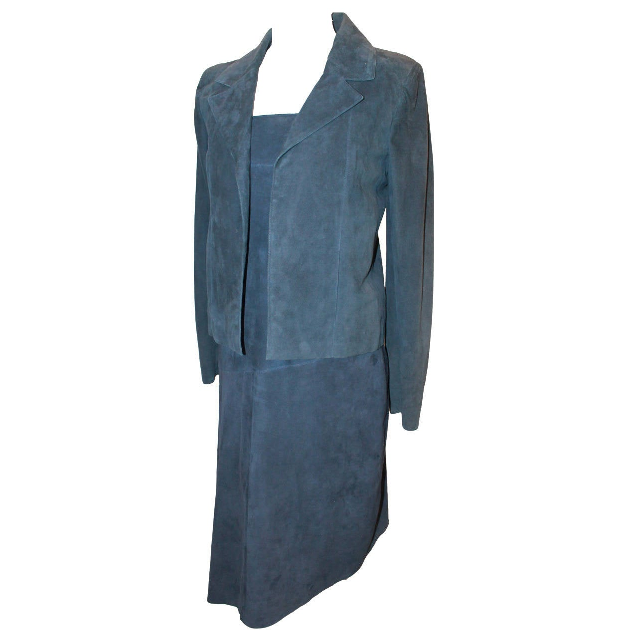 2002 Chanel Navy Suede Two Piece Dress and Jacket - 38