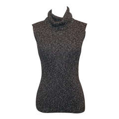 Chanel Grey Metallic Knit Sleeveless Turtleneck Top - 40 - circa 05A